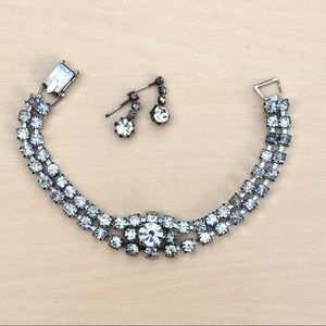 Vintage sparkly bracelet and earrings set